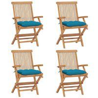 vidaXL Sillas de jardín 4 uds madera de teca con cojines azul claro