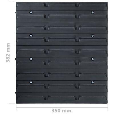 vidaXL Kit de cajas de almacenaje 48 pzas paneles de pared azul negro