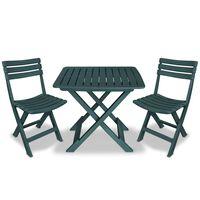 vidaXL Mesa y sillas bistró de jardín plegables 3 pzas plástico verde