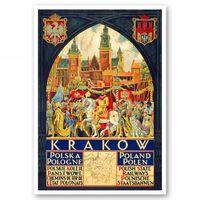 Cartel Turístico Vintage Krakow - Cuadro Lienzo, Impresión Digital