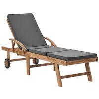vidaXL Tumbona con cojín madera maciza de teca gris oscuro