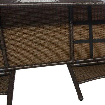 vidaXL Sofá de jardín de 2 plazas con mesita ratán sintético marrón