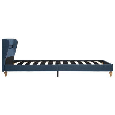 vidaXL Cama con LED y colchón viscoelástico tela azul 90x200 cm
