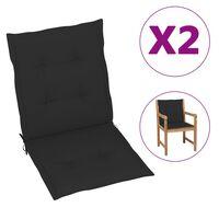 vidaXL Cojines para sillas de jardín 2 unidades negro 100x50x4 cm