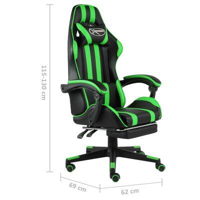 vidaXL Silla gaming con reposapiés cuero sintético negro y verde