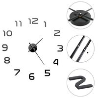 vidaXL Reloj 3D de pared con diseño moderno 100 cm XXL negro