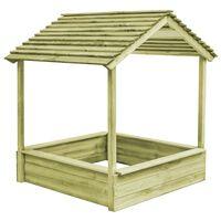 vidaXL Casa de juegos de jardín con cajón de arena madera de pino