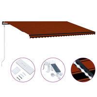 vidaXL Toldo retráctil sensor de viento y LED naranja marrón 600x300cm