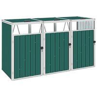 vidaXL Cobertizo triple contenedor de basura acero verde 213x81x121 cm