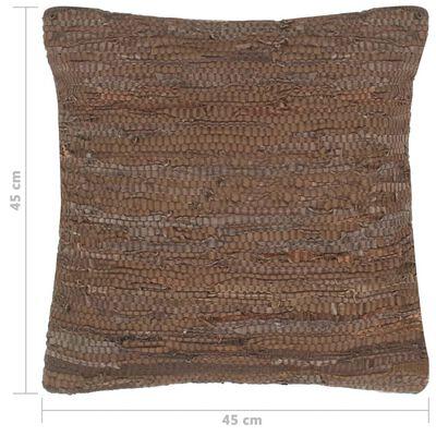 vidaXL Cojines Chindi 2 unidades cuero y algodón marrón 45x45 cm