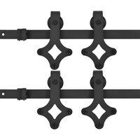 vidaXL Kit de herrajes de puertas correderas acero negro 2 uds 200 cm