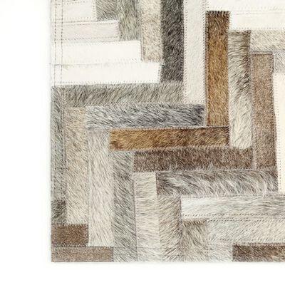 vidaXL Alfombra de almazuela de cuero peludo gris/blanco 160x230 cm