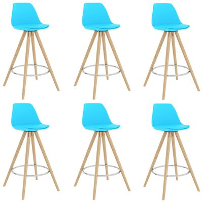 vidaXL Mesa alta y taburetes de bar 7 piezas azul