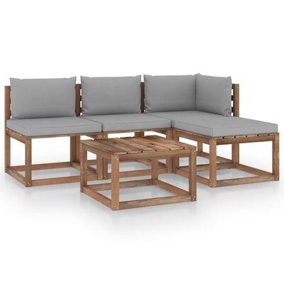 vidaXL Muebles de palets jardín 5 pzas cojines madera pino impregnado