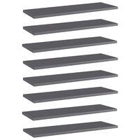 vidaXL Estantes estantería 8 uds aglomerado gris brillo 60x20x1,5 cm