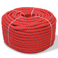 vidaXL Cuerda marina de polipropileno 12 mm 250 m roja
