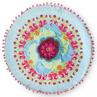 Happiness Cojín decorativo WILD ROSE azul 55x55 cm