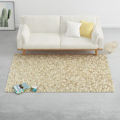 vidaXL Alfombra guijarros lana beige/gris/marrón/chocolate 120x170cm