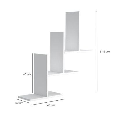 Homemania Estantería de pared Eclipse blanco 80x20x81,8 cm
