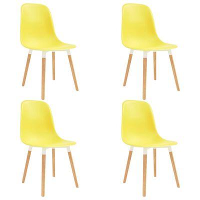 vidaXL Sillas de comedor 4 unidades plástico amarillo