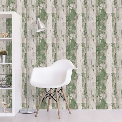 DUTCH WALLCOVERINGS Papel de pared madera verde y beige