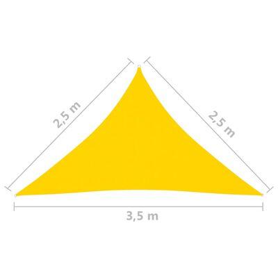 vidaXL Toldo de vela triangular de tela oxford amarillo 2,5x2,5x3,5 m