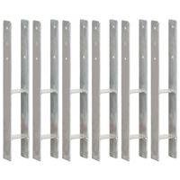 vidaXL Anclajes de valla 6 uds acero galvanizado plateado 8x6x60 cm