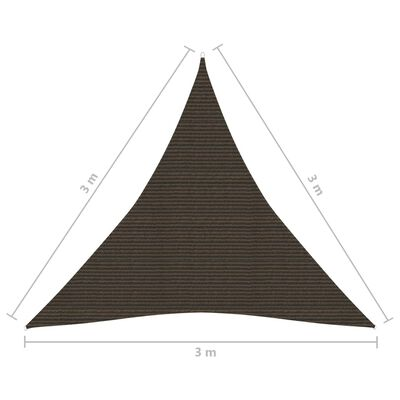 vidaXL Toldo de vela marrón HDPE 160 g/m² 3x3x3 m