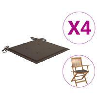vidaXL Cojines para sillas de jardín 4 unidades gris taupe 40x40x3 cm