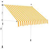 vidaXL Toldo manual retráctil 150 cm amarillo y blanco a rayas