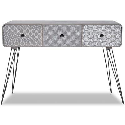 vidaXL Mesa consola con tres cajones gris