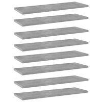 vidaXL Estantes estantería 8 uds aglomerado gris hormigón 60x20x1,5 cm