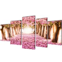 Set decorativo de lienzos para pared flores de cerezo 200 x 100 cm