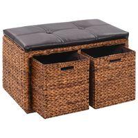 vidaXL Banco con 2 cestas hierba marina 71x40x42 cm marrón