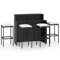 vidaXL Juego de muebles de bar de jardín de 5 piezas y cojines negro