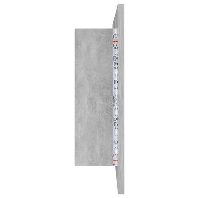 vidaXL Armario espejo de baño con luz LED cemento gris 80x12x45 cm