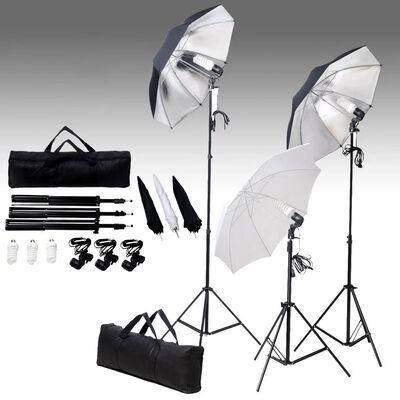 vidaXL Kit de iluminación de estudio trípodes y sombrillas 24 vatios