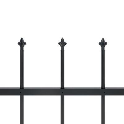 vidaXL Valla de jardín con puntas de lanza acero negro 8,5x0,6 m