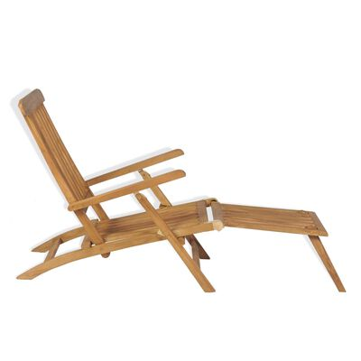 vidaXL Tumbona con reposapiés madera maciza de teca