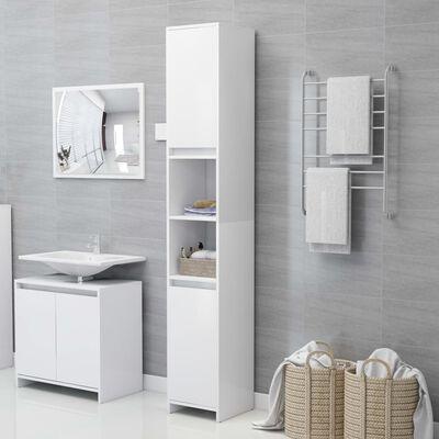 vidaXL Armario de cuarto de baño aglomerado blanco 30x30x183,5 cm
