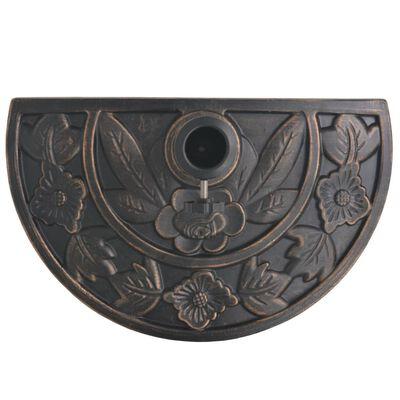 vidaXL Base de sombrilla de resina medio círculo bronce 9 kg