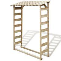 vidaXL Caseta para leña madera de pino impregnada 150x44x176 cm