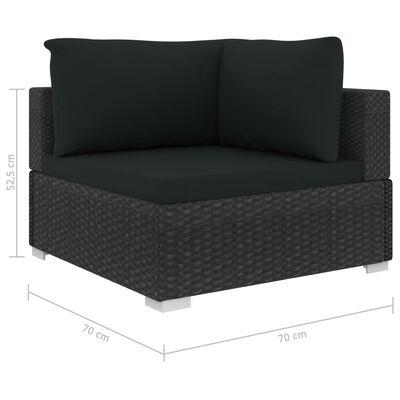vidaXL Set muebles de jardín 12 pzas y cojines ratán sintético negro