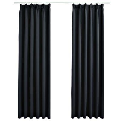 vidaXL Cortinas opacas con ganchos 2 piezas negro 140x175 cm
