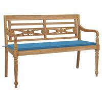 vidaXL Banco Batavia madera maciza de teca con cojín azul 150 cm