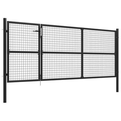 vidaXL Puerta de jardín de acero antracita 350x125 cm