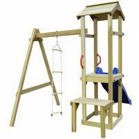 vidaXL Parque infantil con tobogán y escalera de madera