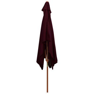 vidaXL Sombrilla de jardín con palo de madera rojo burdeos 200x300 cm