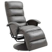 vidaXL Sillón reclinable para TV de cuero sintético gris