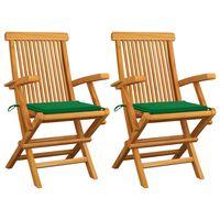 vidaXL Sillas de jardín 2 uds con cojines verdes madera de teca